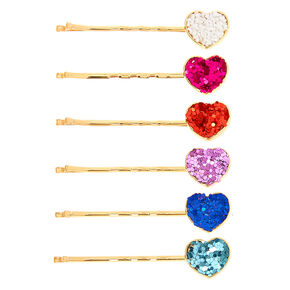 Claire's Club Gold Glitter Heart Hair Pins - 6 Pack,