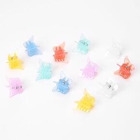 Mini pinces à cheveux papillon pastel - Lot de 12,