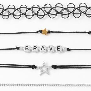 Ras-de-cou aux designs variés étoile «Brave» couleur argentée - Noir, lot de 5,