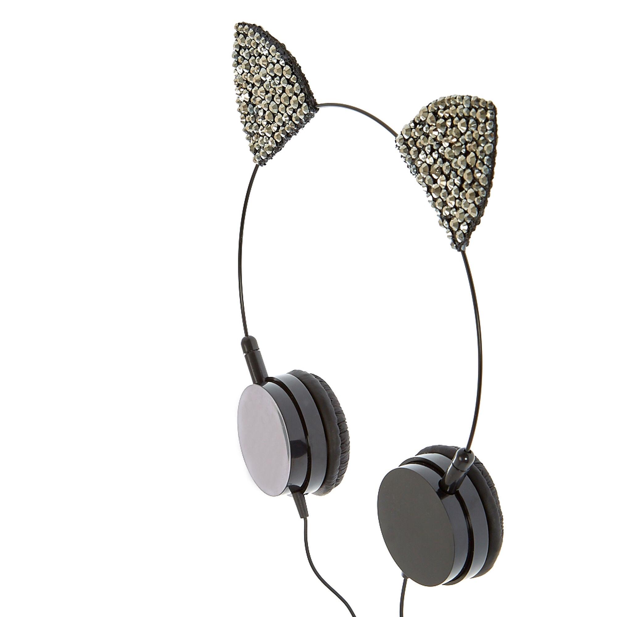 3c355ab8f1e Hematite Cat Ear Headphones | Claire's US