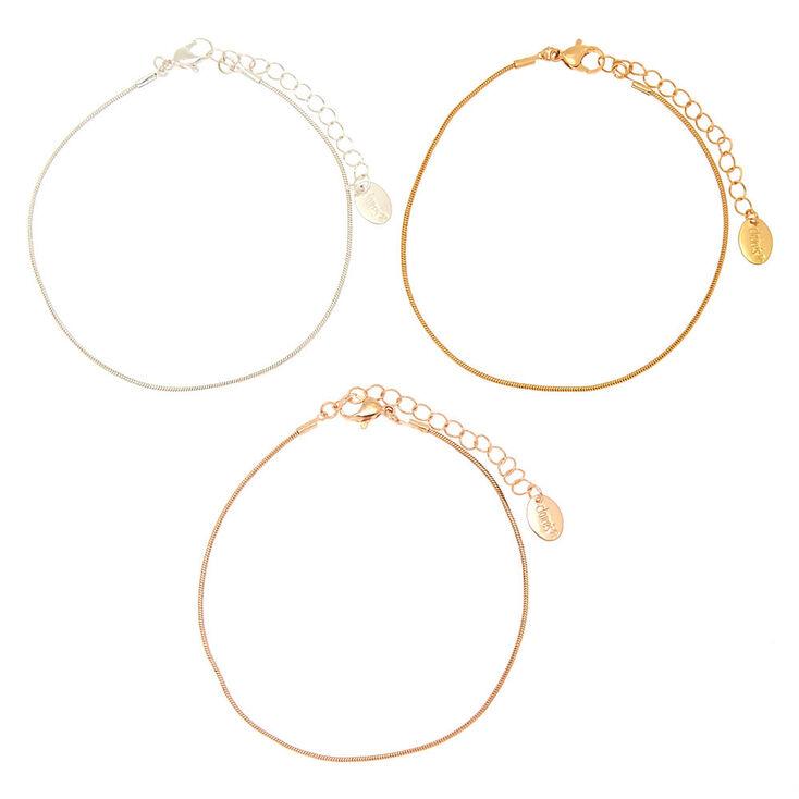 Bracelets de cheville à chaînes en métaux mixtes - Lot de 3,