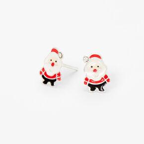 Sterling Silver Enamel Santa Claus Stud Earrings,