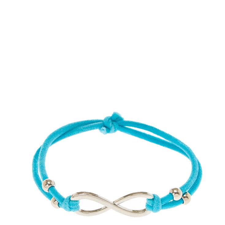 Silver Infinity Symbol Charm Blue Cord Bracelet Claires Us