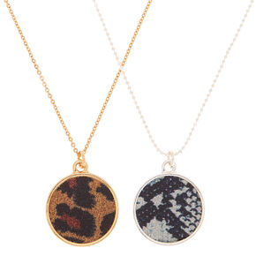 Go to Product: Mixed Metal Animal Print Pendant Necklaces - 2 Pack from Claires