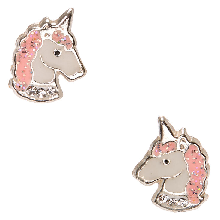 cd2a35093 Sterling Silver Pink Crystal Unicorn Earrings   Claire's