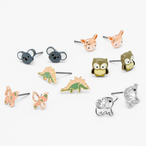 Pastel Animals Stud Earrings - 6 Pack,