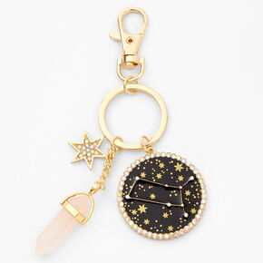 Porte-clés zodiaque avec cristaux de guérison (imitation) couleur dorée - Gémeaux,
