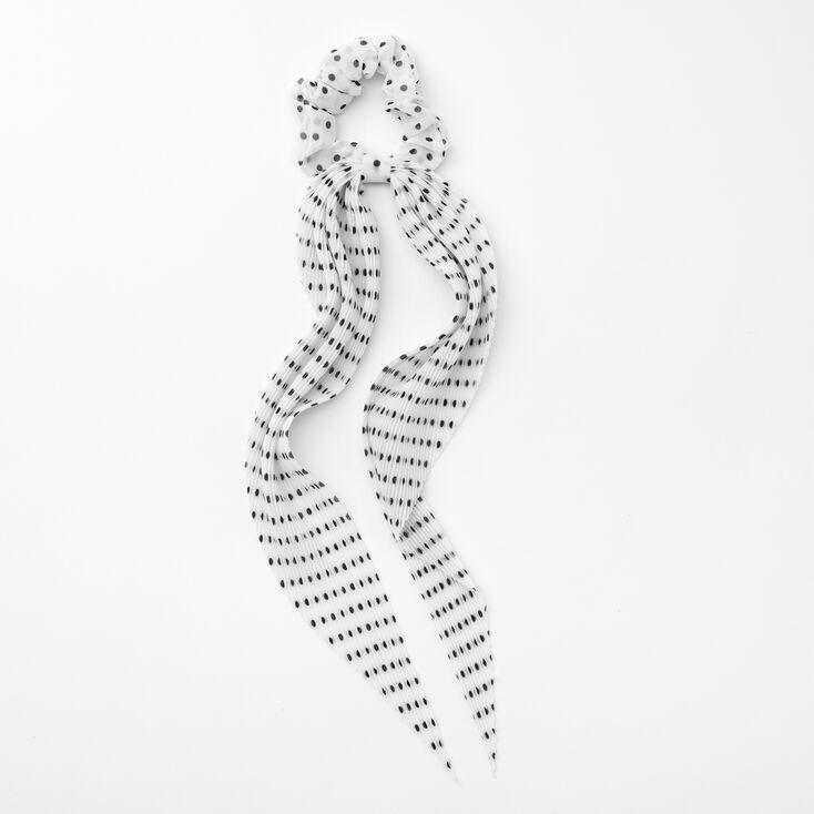 Small Polka Dot Pleated Scarf Hair Scrunchie - White,