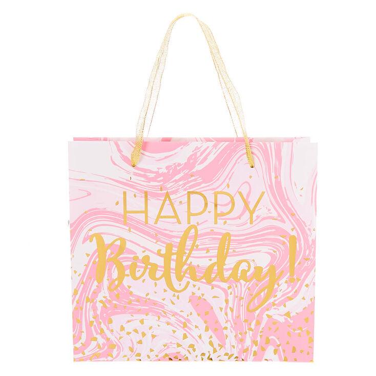 Medium Happy Birthday Marble Gift Bag - Pink,