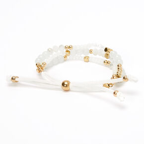 Gold Beaded Adjustable Bracelet - Ivory,