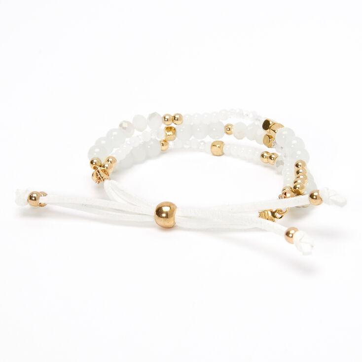 Bracelet réglable perlé couleur dorée - Ivoire,