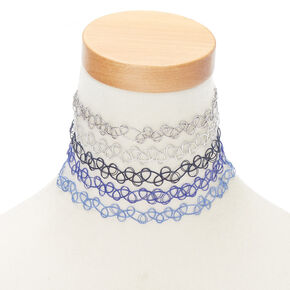 Mixed Metallic Tattoo Choker Necklaces - Blue, 5 Pack,