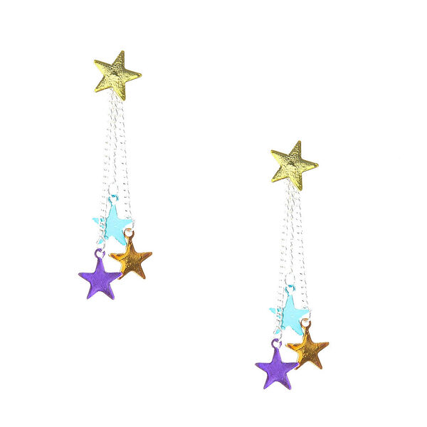 Claire's - colourful stars drop front back drop earrings - 1