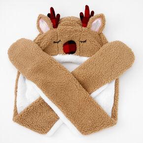 Hooded Plaid Reindeer Scarf - Brown,