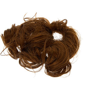 Cheveux synthétiques bouclés châtains avec élastique,