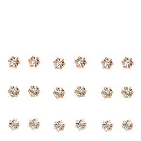 Mixed Metal 3MM Crystal Stud Earrings - 9 Pack,