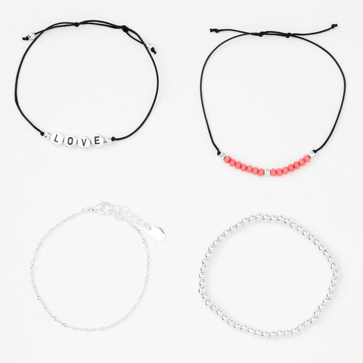 Bracelets perlés réglables «Love» couleur argentée - Lot de 4,