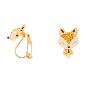 Gold Fox Clip On Stud Earrings,