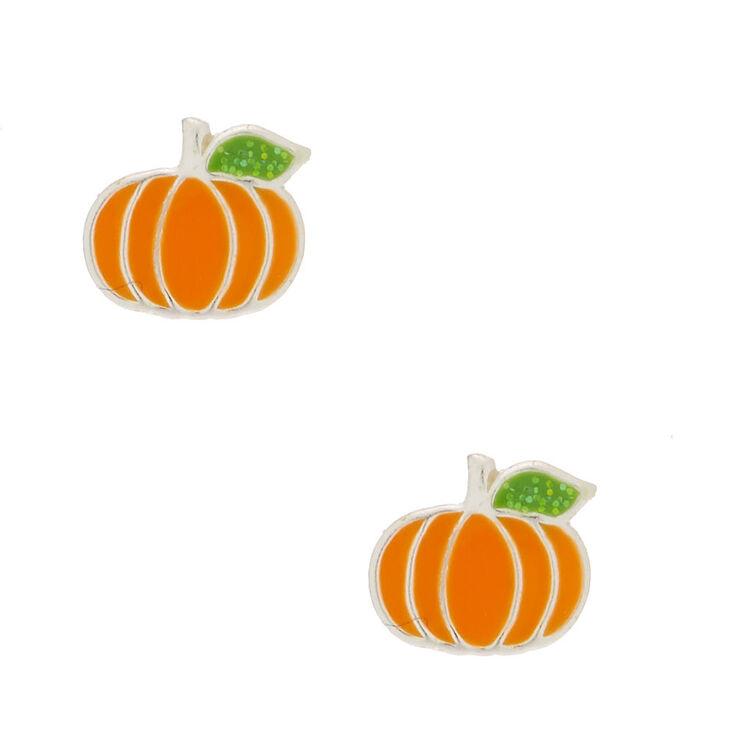 Sterling Silver Pumpkin Spice Stud Earrings,
