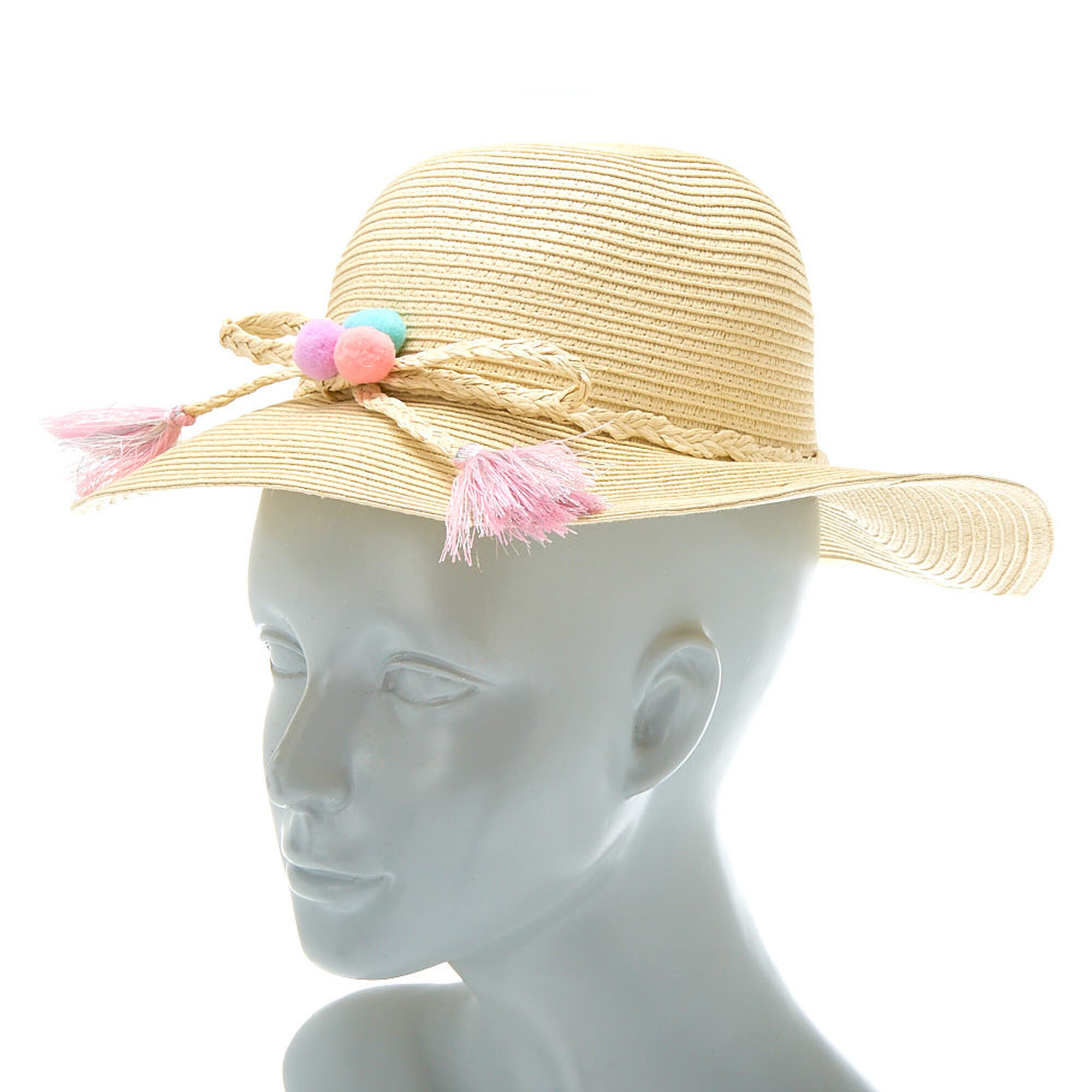 cf9d5ae17ed24 ... Claire  39 s Club Pom Pom Floppy Straw Hat - Tan