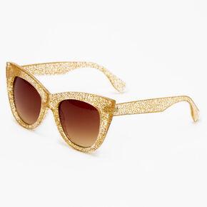 Glittery Cat Eye Sunglasses - Gold,