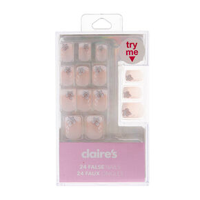French Manicure with Floral Detail Square Faux Nail Set - 24 Pack,