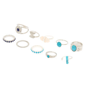 Go to Product: Silver Stone Rings - Turquoise, 10 Pack from Claires
