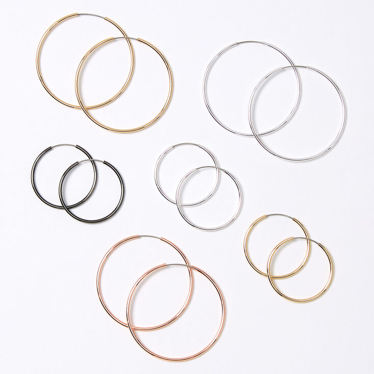 Mixed Metal Graduated Hoop Earrings - 6 Pack,