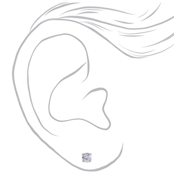 Silver Cubic Zirconia Round Stud Earrings - 4MM,