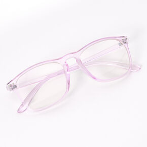 Transparent Retro Clear Lens Frames - Violet,