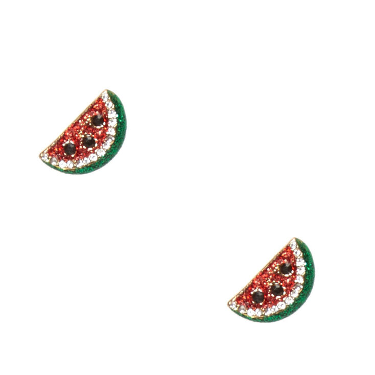 Clous d'oreilles en forme de pastèque ornés de paillettes et de strass,