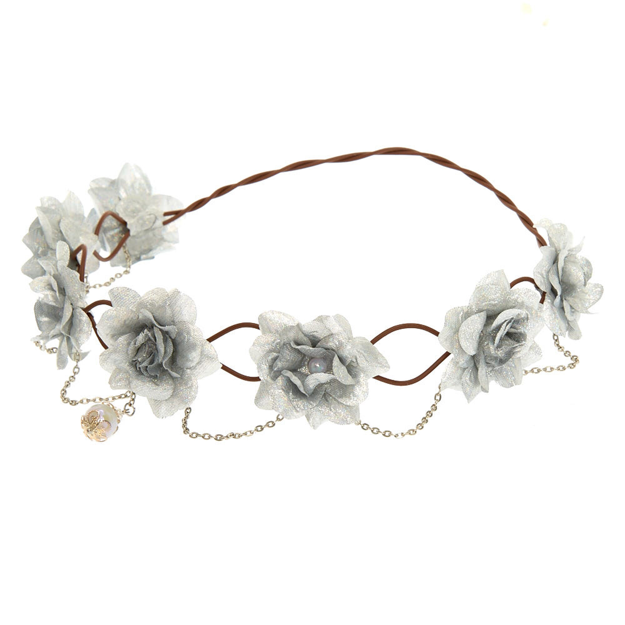 Silver flowers and chains flower crown claires silver flowers and chains flower crown izmirmasajfo Image collections