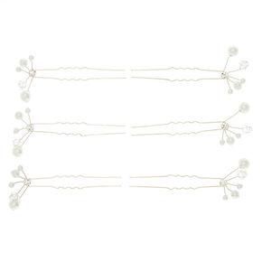 Silver Pearl & Glass Rhinestone Hair Pins - 6 Pack,
