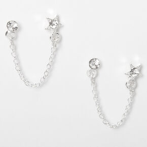 Silver Embellished Star Connector Chain Stud Earrings,