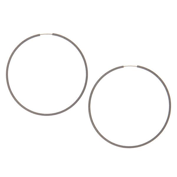 Claire's - hematite hoop earrings - 1