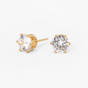 Clous d'oreilles cupcake en zircon cubique d'imitation couleur dorée - 7mm,