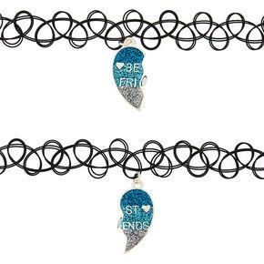Best Friends Glitter Heart Tattoo Choker Necklaces - Blue, 2 Pack,