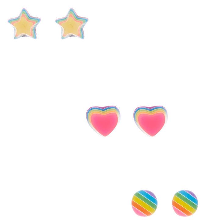 Rainbow Symbol Stud Earrings - 3 Pack,