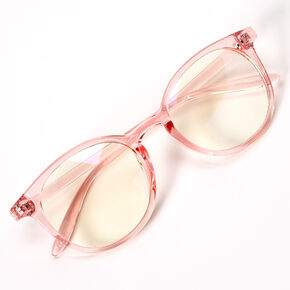 Solar Blue Light Reducing Round Clear Lens Frames - Pink,