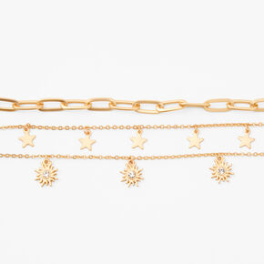Gold Sun & Star Chain Bracelets - 3 Pack,