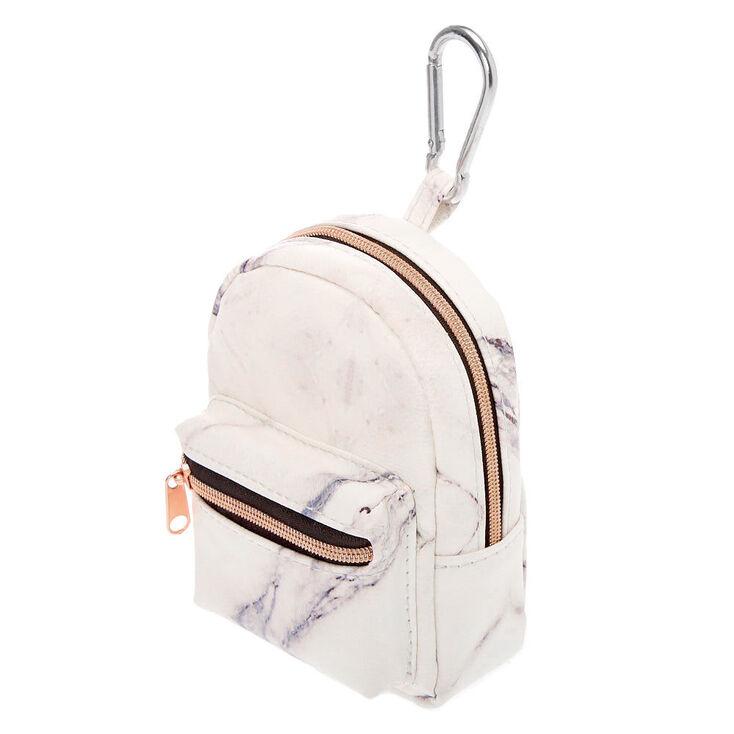 Marble Mini Backpack Keychain - White,