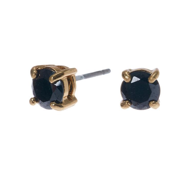 Gold Cubic Zirconia 5MM Round Stud Earrings - Black,