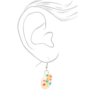 "Silver 1"" Rainbow Polka Dot Cowrie Shell Drop Earrings,"