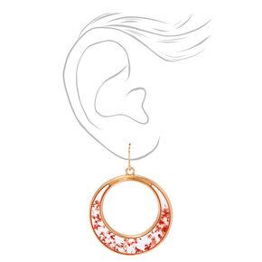 """Gold 1.5"""" Resin Floral Hoop Drop Earrings - Red,"""