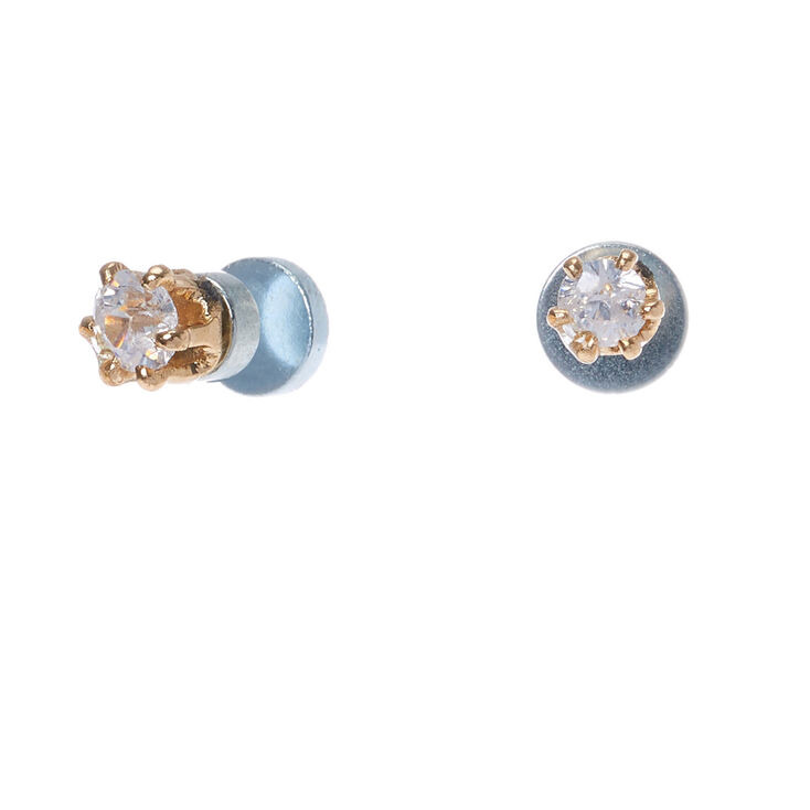 6a9e742b9 Gold Cubic Zirconia 3MM Round Magnetic Stud Earrings | Claire's US
