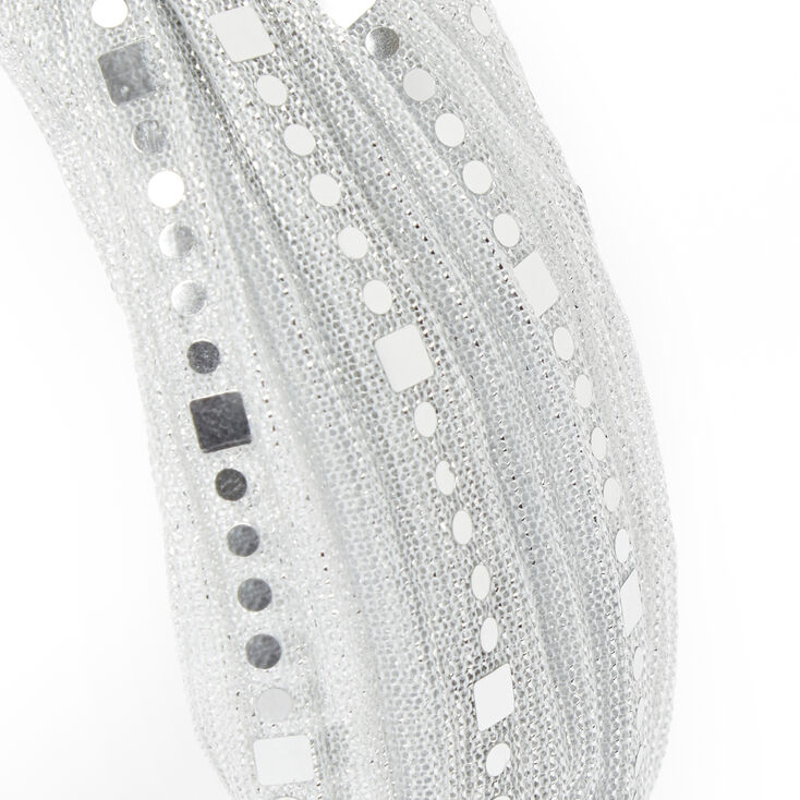 Claire's Club Sequin Embellished Tulle Knotted Headband - Silver,