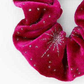Medium Glitter Stars Velvet Hair Scrunchie - Cranberry,