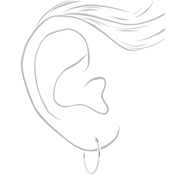 Sterling Silver 18MM Hoop Earrings,