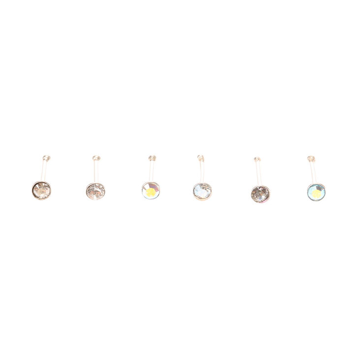 22G Mixed Crystal Nose Studs - Clear, 6 Pack,