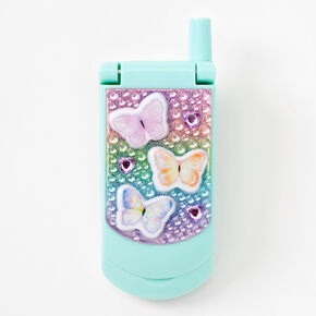 Claire's Club Butterfly Bling Flip Phone Lip Gloss Set - Mint,